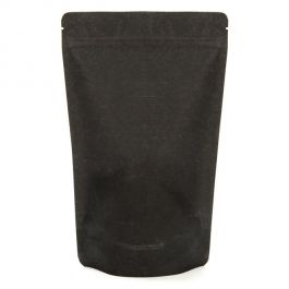 "6 3/4"" x 3 1/2"" x 11 1/4"" (Outer Dims) Solid Black Rice Paper Stand Up Pouches (100 Pieces) [ZBGR4SB]"