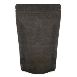 "5 7/8"" x 3 1/2"" x 9 1/8"" (Outer Dims) Solid Black Rice Paper Stand Up Pouches (100 Pieces) [ZBGR7SB]"