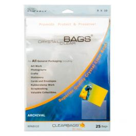 "8 7/16"" x 10 1/4"" Crystal Clear Bags® Protective Closure Retail Pack of 25 (1 Pack) [RPA8X10]"