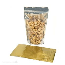 "7 7/16"" x 4 1/2"" x 11 9/16"" (Outer Dimensions) Gold Backed Zipper Pouch Bags (100 Pieces) [ZBGG6H11]"