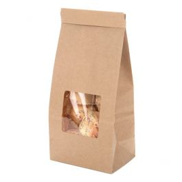 "3 3/8"" x 2 1/2"" x 7 3/4"" Kraft Tin Tie Bags w/ Window, Half LB (100 Pieces) [TTW1K]"