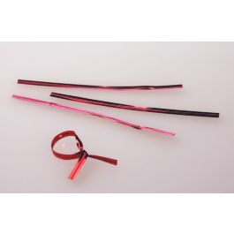 "4"" x 5/32"" Red Metallic Plastic Twist Tie (1000 pack) [TT4MR]"