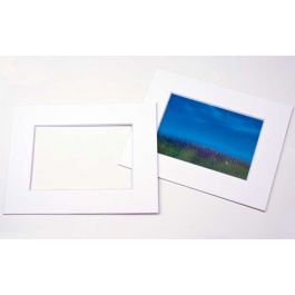 "11"" x 14"" Single Mat, Double Thick White/White Core 8 1/8"" x 10 5/8"" Inner Cut (10 Pieces) [MT20004]"