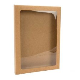 "5 3/8"" x 5/8"" x 7 3/8"" Kraft Paper Window Box with Attached PET Sheet, A7 (25 Pieces) [WKRG1]"