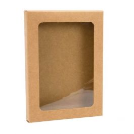 "3 3/4"" x 5/8"" x 5 3/16"" Kraft Paper Window Box with Attached PET Sheet A1 (25 Pieces) [WKRG10]"