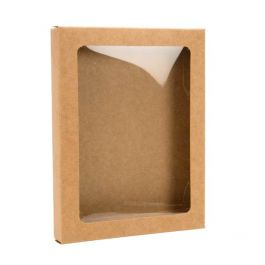 "4 1/2"" x 5/8"" x 5 7/8"" Kraft Paper Window Box with Attached PET Sheet, A2 (25 Pieces) [WKRG3]"
