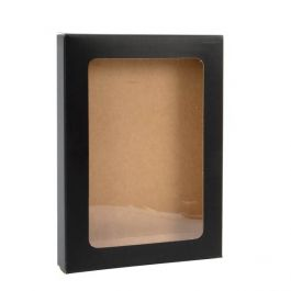 "3 3/4"" x 5/8"" x 5 3/16"" Matte Black Kraft Paper Window Box with Attached PET Sheet A1 (25 Pieces) [WMBG10]"