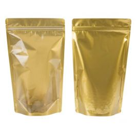 """6 3/4"""" x 3 1/2"""" x 11 1/4"""" (Outer Dimensions) Gold Backed Zipper Pouch Gusset Bags (100 Pieces) [ZBGGC4]"""