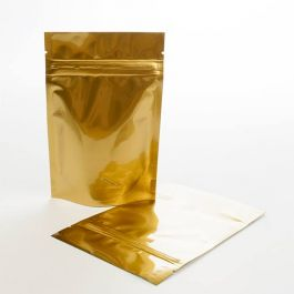 "4"" x 2 3/8"" x 6"" (Outer Dimensions) Gold Metallized Zipper Pouch Bags (100 Pieces) [ZBGM2G]"