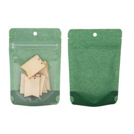 "4"" x 2 3/8"" x 6"" (Outer Dims) Harvest Green Rice Paper Backed Stand Up Pouch w/Hang Hole (100 Pieces) [ZBGR2HGR]"