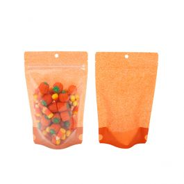 "5 1/8"" x 3 1/8"" x 8 1/8"" (Outer Dims) Harvest Orange Rice Paper Backed Stand Up Pouch w/Hang Hole (100 Pieces) [ZBGR3HO]"