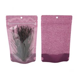 "5 1/8"" x 3 1/8"" x 8 1/8"" (Outer Dims) Harvest Purple Rice Paper Backed Stand Up Pouch w/Hang Hole (100 Pieces) [ZBGR3HP]"