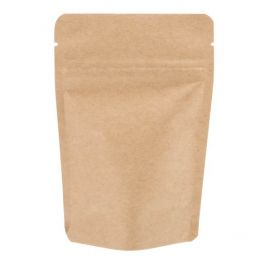 "4"" x 2 3/8"" x 6"" (Outer Dimensions) Kraft Stand Up Zipper Pouch Bags (100 Pieces) [ZBGSK2]"