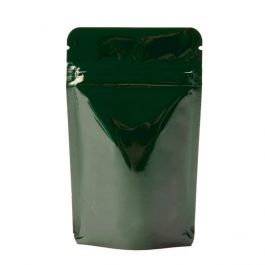 "3 1/8"" x 2"" x 5 1/8"" (Outer Dimensions) Hunter Green Metallized Stand Up Zipper Pouch Bags (100 Pieces) [ZBGM1HG]"
