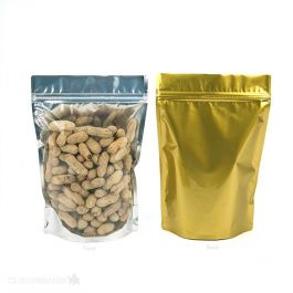 """7"""" x 3 7/8"""" x 9 15/16"""" (Outer Dimensions) Gold Backed Zipper Pouch Bags (100 Pieces) [ZBGG69]"""
