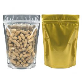 "7"" x 3 7/8"" x 9 15/16"" (Outer Dimensions) Gold Backed Zipper Pouch Bags (100 Pieces) [ZBGG69]"