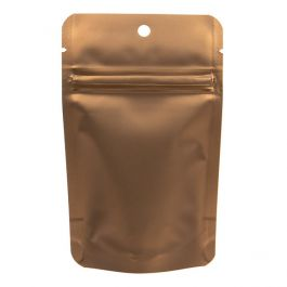 """3 1/8"""" x 2"""" x 5 1/8"""" (Outer Dims) Bronze Metallized Zipper Pouch Bags with Hang Hole (100 Pieces) [ZBGM1BZH]"""