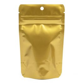 "3 1/8"" x 2"" x 5 1/8"" (Outer Dims) Gold Metallized Stand Up Zipper Pouch with Hang Hole (100 Pieces) [ZBGM1GH]"