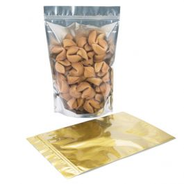 """9"""" x 4 3/4"""" x 13 1/2"""" (Outer Dimensions) Gold Backed Zipper Pouch Bags (100 Pieces) [ZBGG6]"""