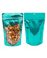 Front and rear view of teal stand up pouch with clear front and hang hole