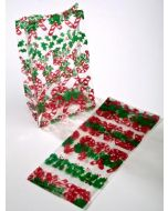 """3 1/2"""" x 2"""" x 7 1/2"""" Candy Canes Printed Gusset Bags, 1.2 Mil (100 Pieces) [G3CCN]"""