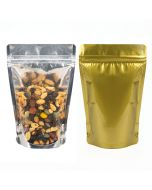 Clear front and gold backed gusset pouch bags