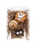 Crystal clear pillow box with halloween cookies