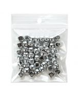 Beads packaged in clear zipper bag w/round hanger