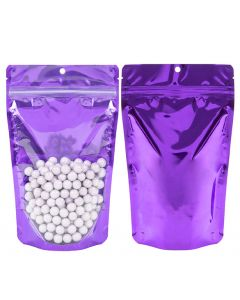 "5 1/8"" x 3 1/8"" x 8 1/8"" stand up pouch in bright violet"