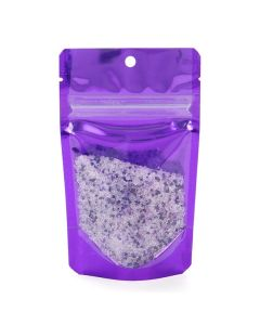 "3 1/8"" x 2"" x 5 1/8"" (Outer Dims) Bright Violet Backed Stand Up Pouch w/Hang Hole (100 Pieces) [ZBGB1VL]"