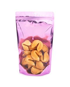 Food safe pink zipper bag with fortune cookies