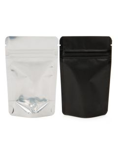 Black back and clear front with silver inside zipper pouch