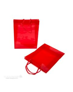Red glossy handle bag
