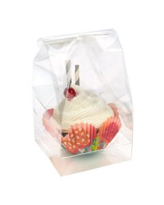 "5"" x 2 1/4"" x 5"" Double Mini Cupcake Bag Set w/Paper Bottom (100 Sets) [CBG9]"