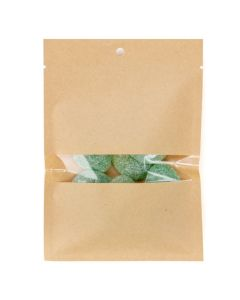 Heat sealable kraft bag with food