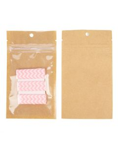 kraft backed scent proof hanging zipper bag w/ tear notches | 3 x 4 1/2