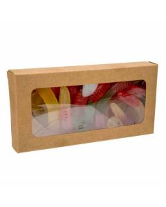 "2 3/4"" x 13/16"" x 5 7/16"" Kraft Paper Window Box with Attached PET Sheet (25 Pieces) [WKRG315]"