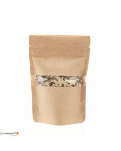 "4"" x 2 3/8"" x 6"" (Outer Dimensions) Kraft Zipper Pouch Bags (100 Pieces) [ZBGW2K]"