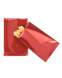 Metallic red flat sealable bags