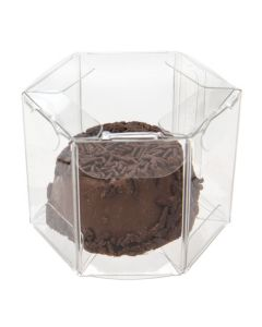 "Clear mini hexagon box, food safe - 1 3/4"" x 1 3/4"" x 1 1/2"""