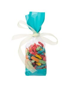 Packaged Candy inside Side Gusset Cello Bag with Teal Ends