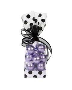 Candy packaged in Cello Bag with White Ends and Black Dots