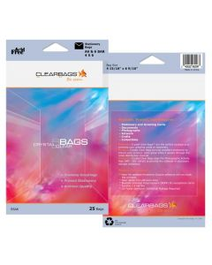 "3 13/16"" x 5 3/16"" Crystal Clear Protective Closure Bags Retail Pack of 25 (1 Pack) [RS4BAR]"