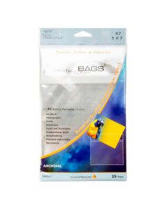 """5 7/16"""" x 7 1/4"""" Crystal Clear Protective Closure Bags Retail Pack of 25 (1 Pack) [RPA5X7]"""