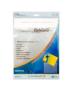 """8 7/16"""" x 10 1/4"""" Crystal Clear Bags® Protective Closure Retail Pack of 25 (1 Pack) [RPA8X10]"""