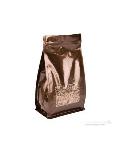 "5"" x 3"" x 8"" Bronze Box Bottom Zipper Pouches w/Window (100 Pieces) [SQMS7BZ] CLOSEOUT SALE!"