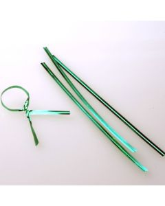 "4"" x 5/32"" Green Metallic Plastic Twist Tie (1000 pack) [TT4MGR]"