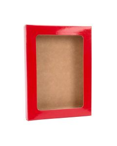 "3 3/4"" x 5/8"" x 5 3/16"" Gloss Red Kraft Paper Window Box with Attached PET Sheet A1 (25 Pieces) [WGRG10]"