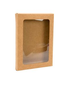 "3 3/4"" x 1/2"" x 5 3/16"" Kraft Paper Window Box with Attached PET Sheet, A1 (25 Pieces) [WKRG339]"