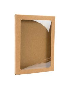 "4 7/8"" x 1/2"" x 6 5/8"" Kraft Paper Window Box with Attached PET Sheet, A6 (25 Pieces) [WKRG5]"